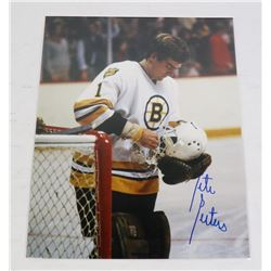 PETE PEETERS AUTOGRAPHED BOSTON BRUINS 8X10 PHOTO