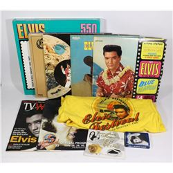 ELVIS PRESLEY BOX CONTAINING ELVIS PUZZLE; RECORDS