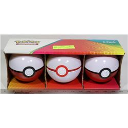 LOT OF 3 POKEBALLS WITH CARDS, DICE ETC.
