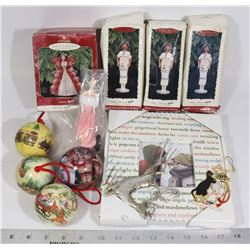 LOT OF XMAS ORNAMENTS, INCL HALLMARK BARBIES