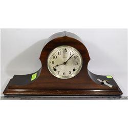 ANTIQUE INGRAHAM TAMBOUR CLOCK W/ ORIGINAL LABEL + KEY