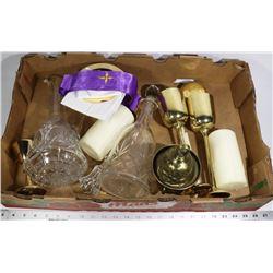 RELIGIOUS CEREMONY SET - BRASS & GLASS