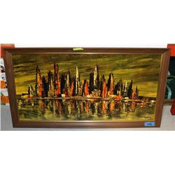 LARGE WOOD FRAMED PAINTING