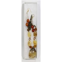 NEW WOMAN'S COLOURED STONE NECKLACE/EARRING SET
