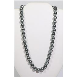 """#11-GREY SEA SHELL PEARL NECKLACE 10mm/15"""""""
