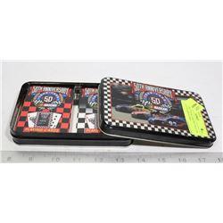 NASCAR 2 PACK CARD SET IN A TIN BOX 50TH ANNIVERSARY