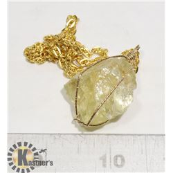 WIRE WRAPPED LEMON CRYSTAL PENDANT WITH CHAIN