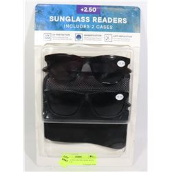 2 PACK SUNGLASS READERS WITH CASE +2.50