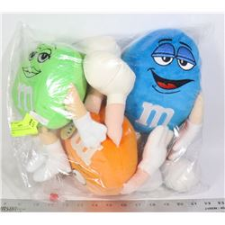 M & M'S 3 X STUFFED FIGURES WITH TAGS