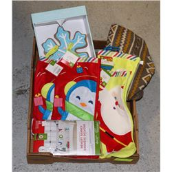 FLAT OF CHRISTMAS STOCKINGS AND OTHER DECORATIONS