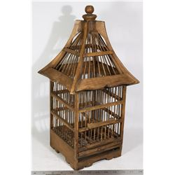 RUSTIC WOODEN BIRD CAGE