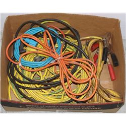 LARGE BOX OF OUTDOOR POWER CORDS AND