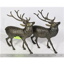 PAIR OF METAL ART REINDEER SCULPTURES