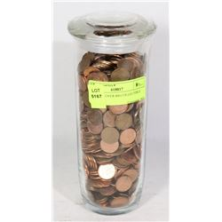 JAR WITH OVER 800 COLLECTIBLE PENNIES -