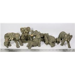 BOX OF 5 STONECAST ELEPHANTS