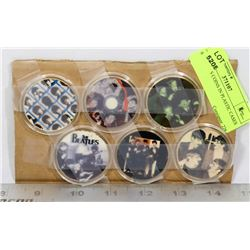 6 BEATLES COINS IN PLASTIC CASES