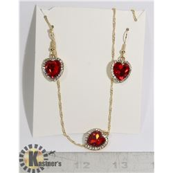 NEW 3PC MATCHING HEART SHAPE EARRING & NECKLACE