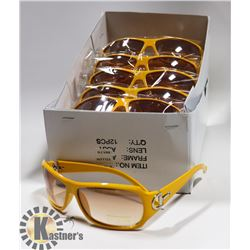 BOX OF DESIGNER YELLOW SUNGLASSES