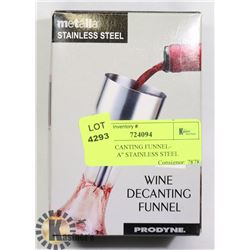 """WINE DECANTING FUNNEL- """"METALLA"""" STAINLESS STEEL"""
