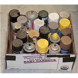 BOX OF ASSORTED SPRAY PAINTS