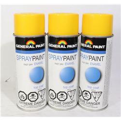 GENERAL PAINT SPRAY PAINT ENAMEL 340G 3 BOTTLES