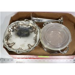 SILVERPLATE SERVING DISH,CANDY DISH & FLOWER VASE