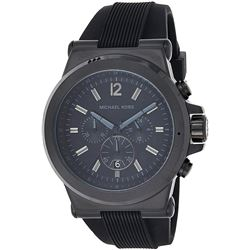 NEW MICHAEL KORS BLACKDIAL SILICONE STRAP MSRP$337