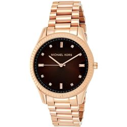 NEW MICHAEL KORS ROSE GOLDTONE BROWN DIAL MSRP$299