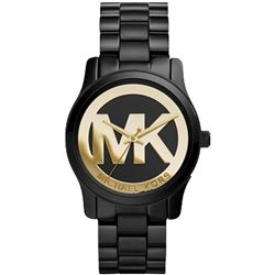 NEW MICHAEL KORS BLACK ION-PLATED 34MM MSRP $300
