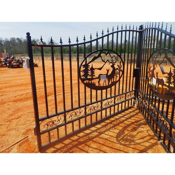 20' IRON GATE powder coated, deer scene