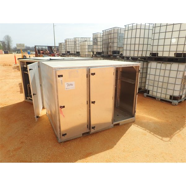 Unused complete fuel & lube system, (4) 100 gal tanks, remote, pumps, reels, storage container