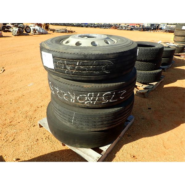 (4) 275/80R22.5 tires w/alum rims