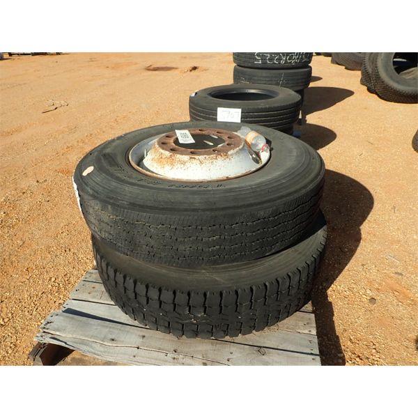 (2) 11R22.5 tires w/rims