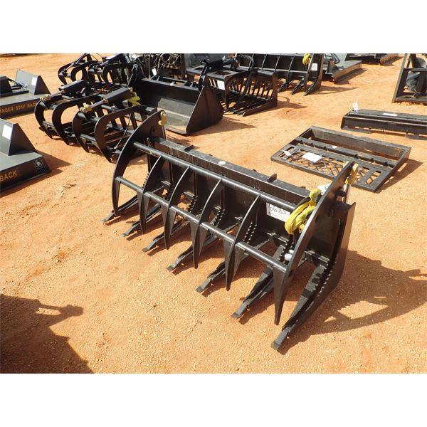 72' E series grapple rake, fits skid steer loader