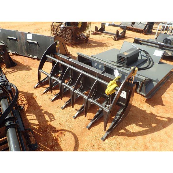 "72"" E series rake grapple, fits skid steer loader"