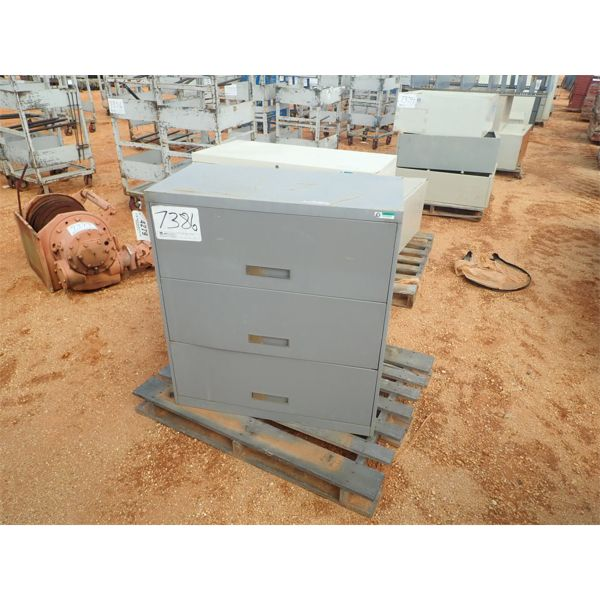 (2) 3 draw storage cabinet