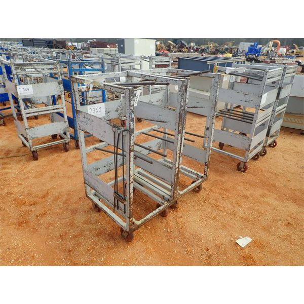 (2) metal roll around parts cart