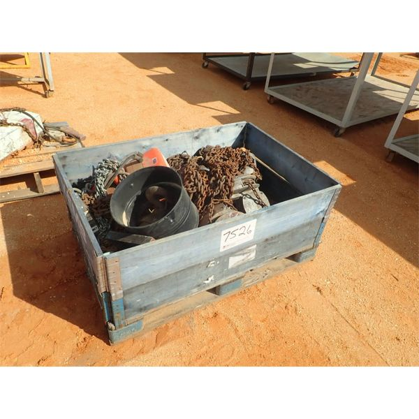 (1) crate of misc chain & chain hoist