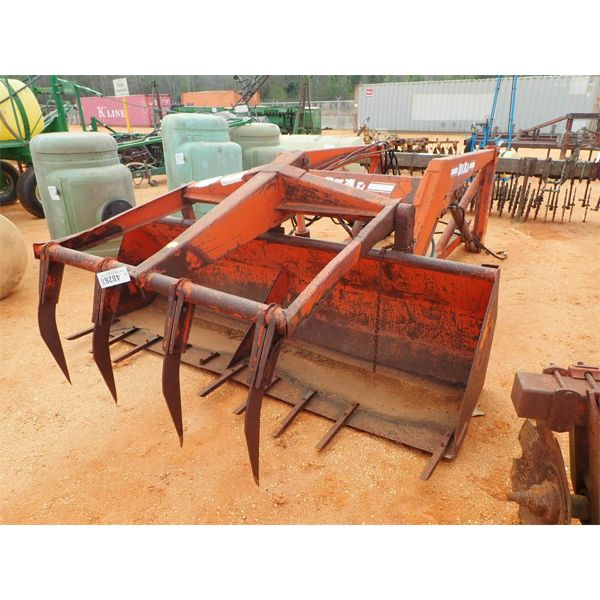 dual front loader bucket w/top clamp, fits farm tractor