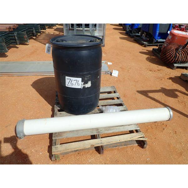 """(1) 55 gallon barrel and (1) 6"""" PVC pipe"""