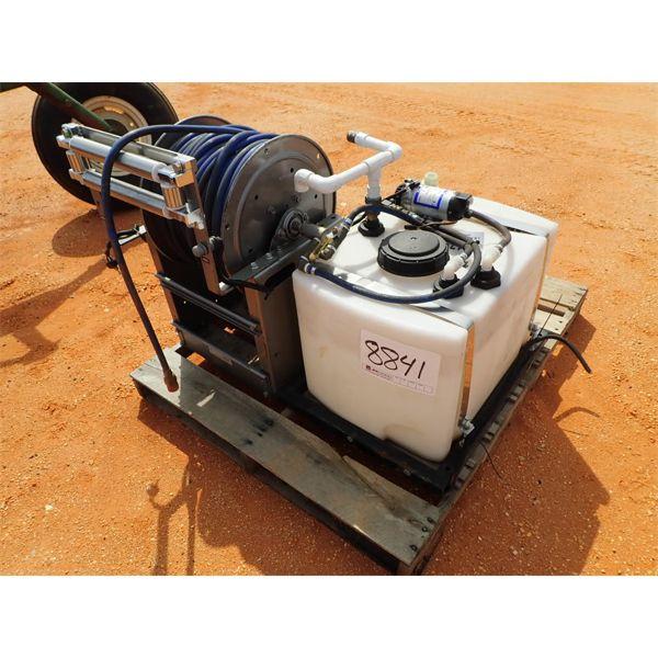 25 gallon tank with shurflo pump, reel & hose