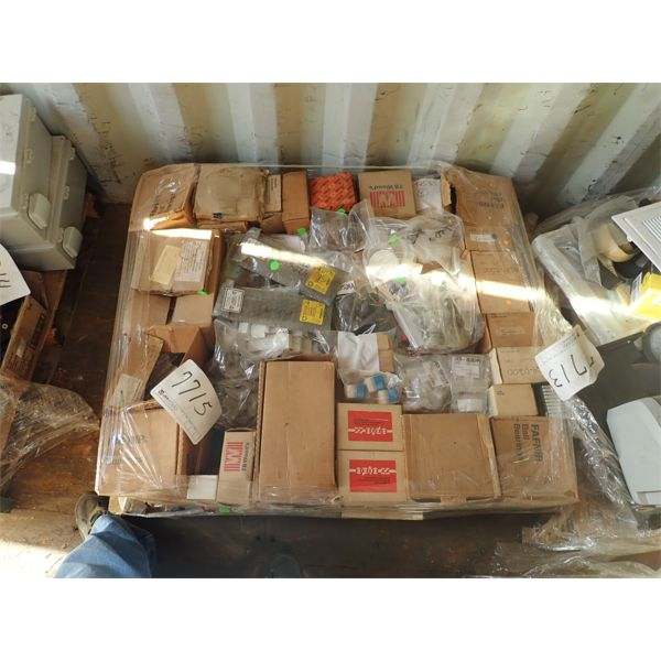 (1) pallet misc bearing, smoke detector, electrical components