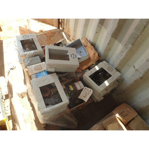 (1) pallet misc, control panel boxes, pillar block bearing, bearing, elect component