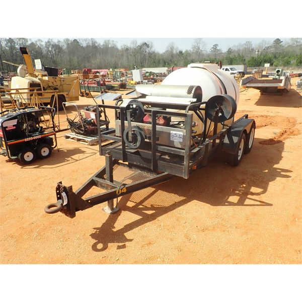 Hot water pressure washer w/525 gallon tank, mtd on t/a trailer