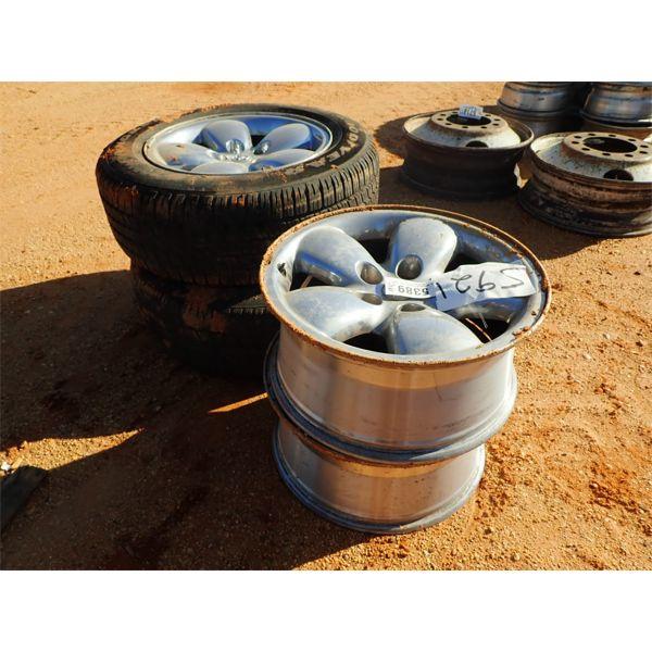 (4) Dodge rims, (2) tires