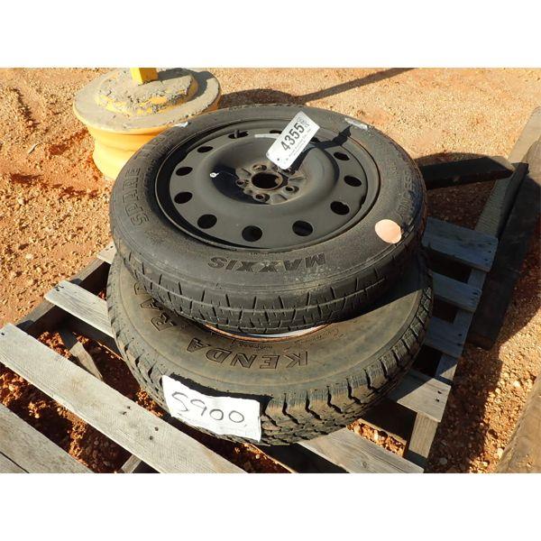 (2) misc size tires w/rims