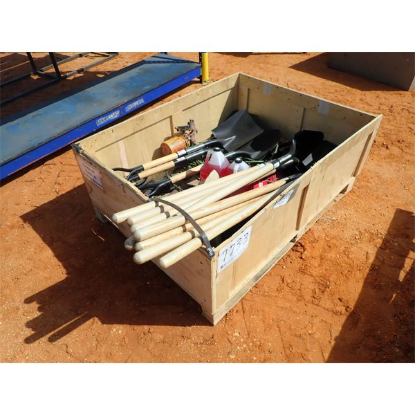 Crate of tools & (12) new shovels