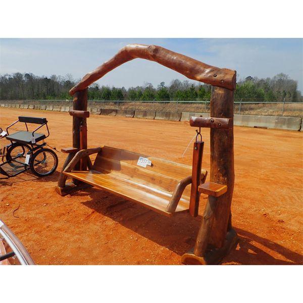 Teakwood swing w/log on top