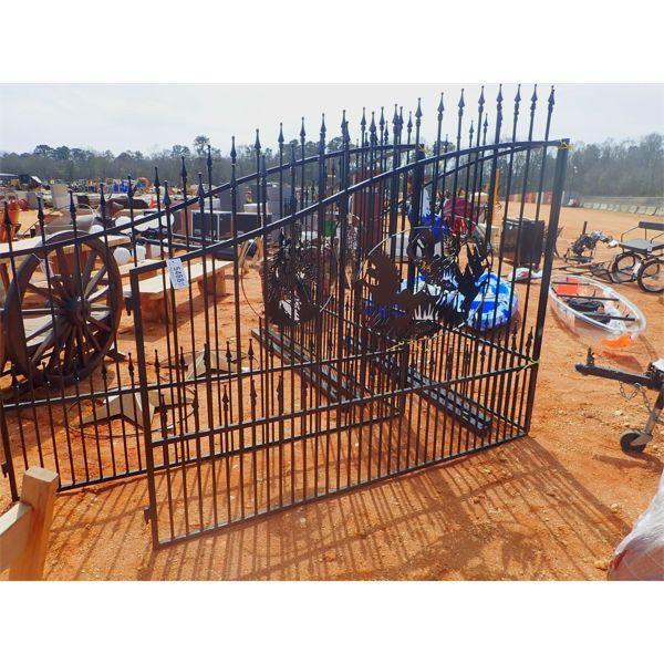16' powder coated gate, wildlife scene