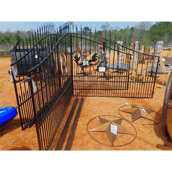 16' powder coated gate, deer head scene
